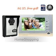FREE SHIPPING BRAND NEW 7″ Color Recording Screen Video Door phone System + Night Vision Door Intercom Camera + 8G SD WHOLESALE