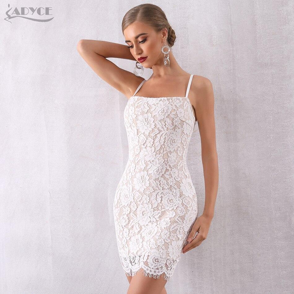 ADYCE 2019 New Summer Women Bodycon Lace Bandage Dress Sexy Sleeveless Spaghetti Strap Club Dress Celebrity