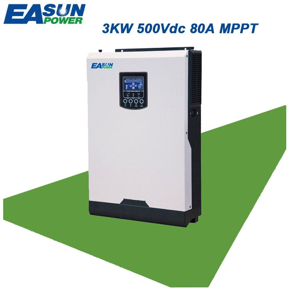 EASUN POWER 3KW 500 v Solar Inverter 4KW PV Eingang 24 v 220 v 80A MPPT Rein Sinus Welle Inverter 50 hz Off Grid Inverter Ladegerät