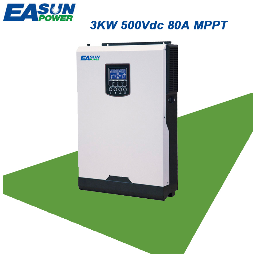 EASUN POWER 3KW 500V Solar Inverter 4KW PV Input 24V 220V 80A MPPT Pure Sine Wave Inverter 50Hz Off Grid Inverter Charger