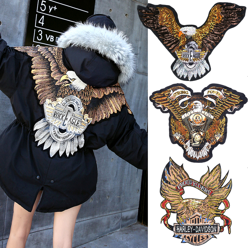 Anime Badges Decorative Laminated Eagle Patch Post Move Fashion Design Thanks Buiter Patch Holes
