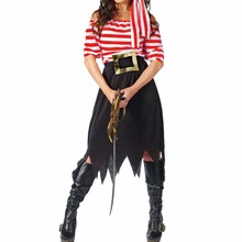 Women Pirate Costume Girl Crew Costume Halloween Costumes Pirate Cosplay Short Sleeve Striped Party Dress Skirts for Lady(China)