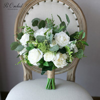 PEORCHID White Flower Wedding Bouquet Green Eucalyptus Nordic Style Modern 2019 Peony Rose Artificial Bridal Bouquet