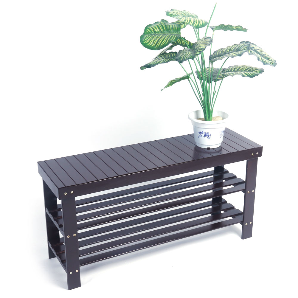 Shoe Cabinet 90cm Strip Pattern 3 Tiers Bamboo Stool Shoe Rack Coffee Color Stool Bench HOT SALE