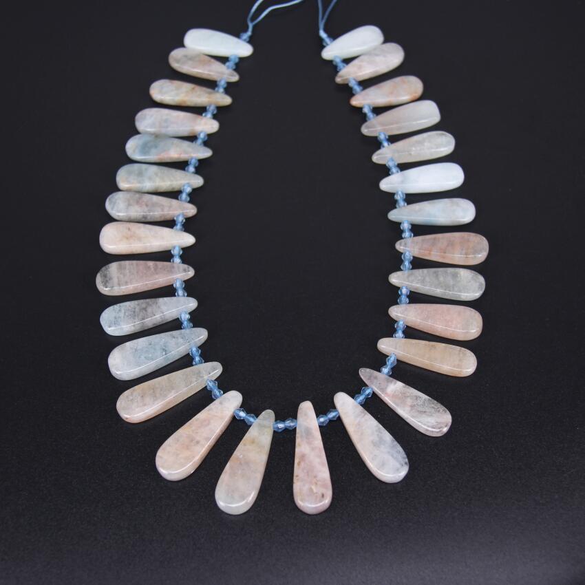 28pcs/str Pink Aquamarines Natural Stone Graduated Teardrop Loose Bead DIY Bracelet,Top Drilled Raw Gem Long Slice Point Pendant