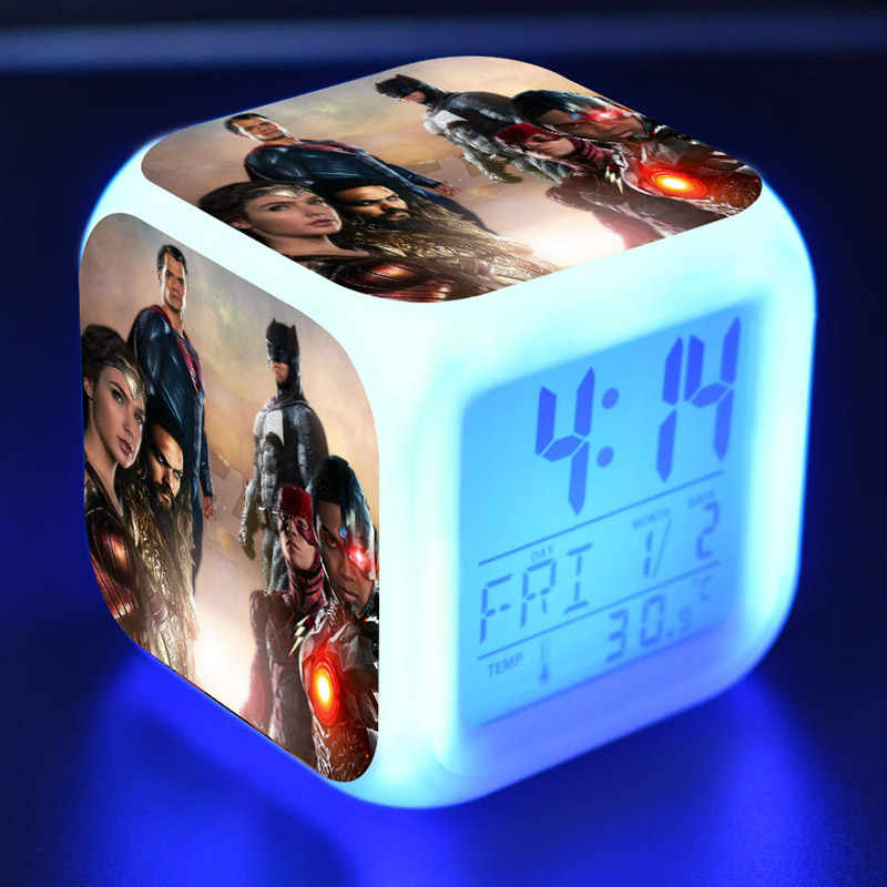 Justiça leag batman maravilha mulher figura de filme juguetes led colorido toque luz despertador super-heróis figma relógio de mesa brinquedos