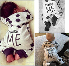 Newborn Baby Boy Girl Clothes Long Sleeve Dots Back Letter Printed Pomers Baby Bodysuits Jumpsuits 1-24 Months