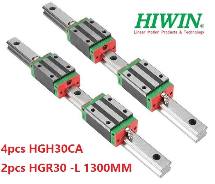 2pcs 100% original Hiwin linear guide rail HGR30 -L 1300mm + 4pcs HGH30CA narrow block for cnc router2pcs 100% original Hiwin linear guide rail HGR30 -L 1300mm + 4pcs HGH30CA narrow block for cnc router