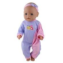 Příslušenství pro panenku, Purple Jumpsuit Wear fit 43 cm Baby Narozen Zapf, Děti nejlepší dárek k narozeninám