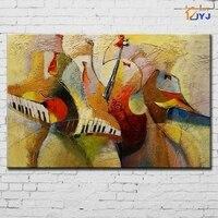 Citron de Couleur Musique Toile Mur Art Peint À La Main Abstraite Moderne Peinture À L'huile pour la Décoration du Salon Cadeau Pas Encadrée SL097