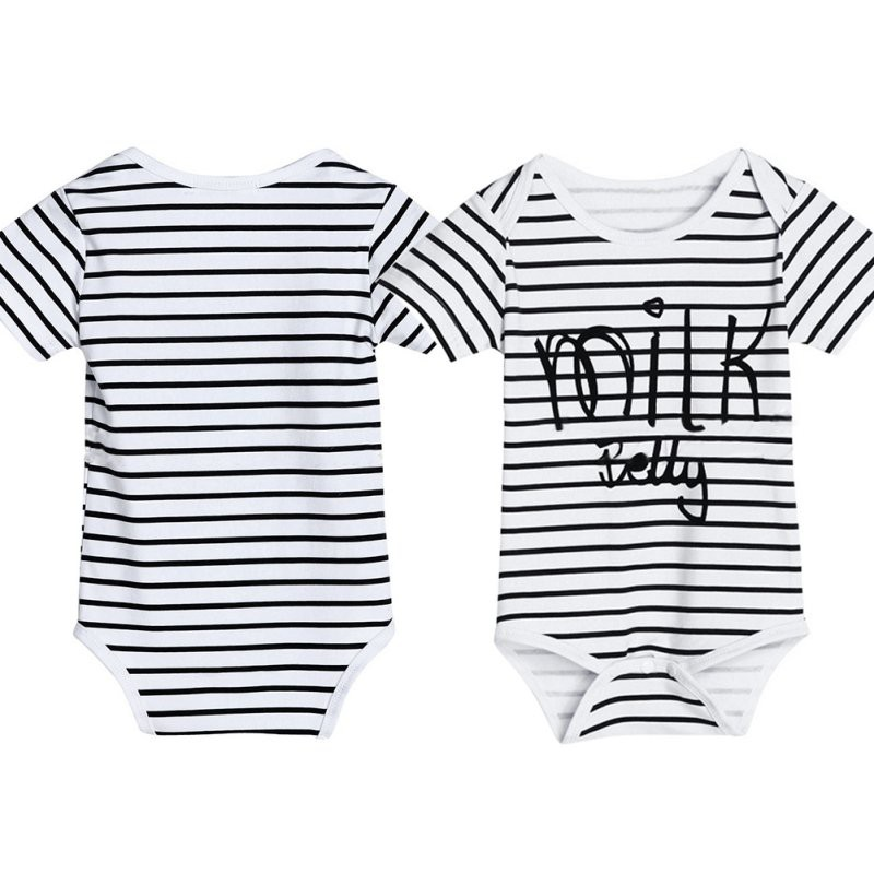 36a5ed045 Kids Baby Boys Girls Short Sleeve Letters Printed Striped Romper ...