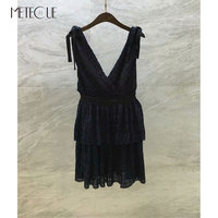 V Neck Blue Lace Dress 2018 Pre Fall Fashion High Waisted Off Shoulder Dress 2018 Fall Winter