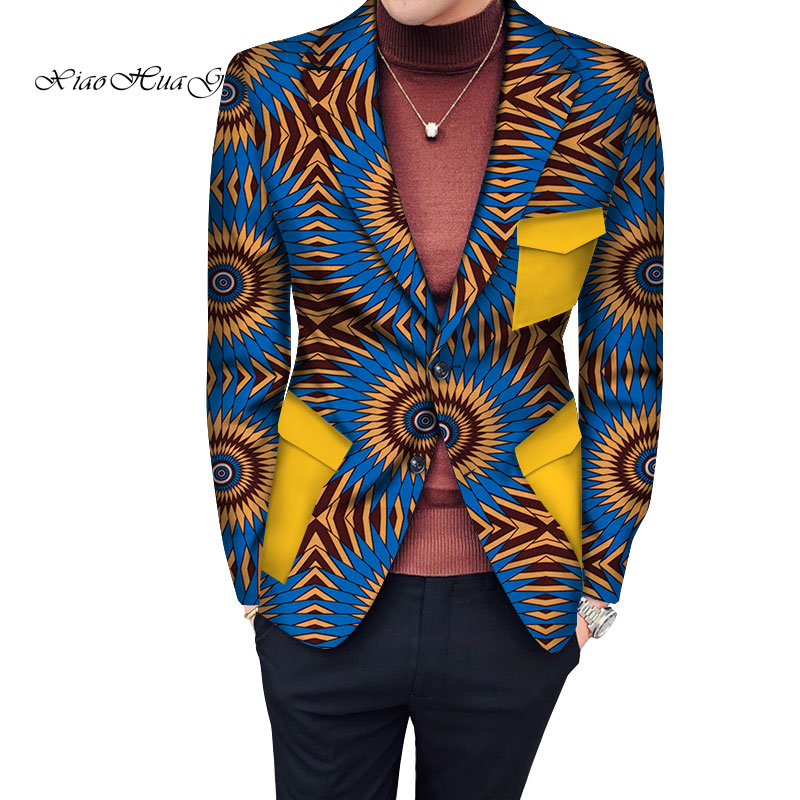 New Style African Men Blazers High Quality Men Single Breasted Suit Jacket Dashiki Print Men African Clothing WYN772