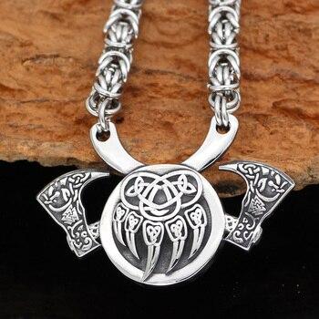 Nordic Viking Amulet Valknut Small Bear Paw Axe Necklace  Viking Necklace
