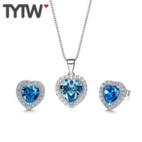 TYTW Crystals From Austrian Women Pendant Heart Necklace Earrings Number Birthstone Jewelry Set Girl Necklace Stud Earrings gift