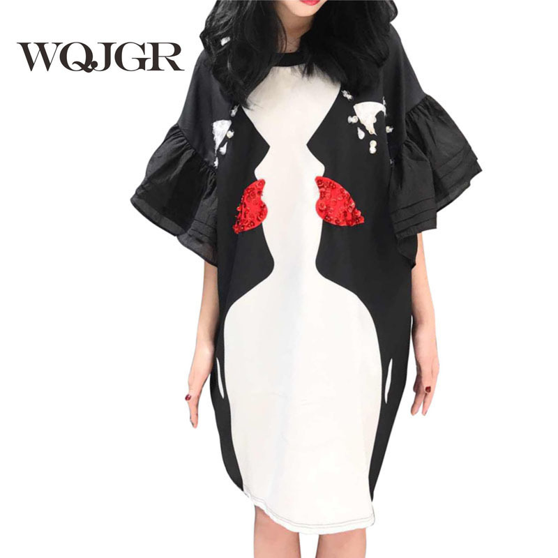 WQJGR Brand 2019 Dress Women New Pattern Black And White Printing Eye Horn Sleeve Personality Round Neck in Dresses from Women 39 s Clothing