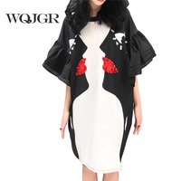 WQJGR Brand 2018 Dress Women New Pattern Black And White Printing Eye Horn Sleeve Personality Round Neck