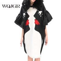 WQJGR Brand 2018 Dress Women New Pattern Black And White Printing Eye Horn Sleeve Personality Round Neck