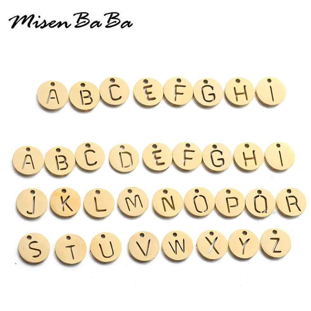 Charms Gold Silver Color Stainless Steel Tag Round Letter Charms For Jewelry Making DIY Letter Pendants