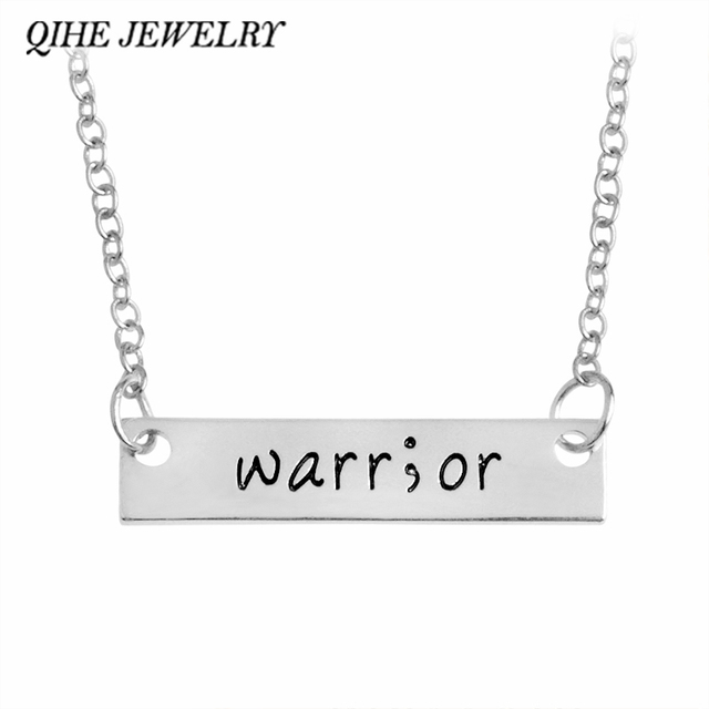 QIHE JEWELRY Engraved Words Warrior Bar Necklace Warrior necklace Inspirational Awareness Jewelry Survivor Gift