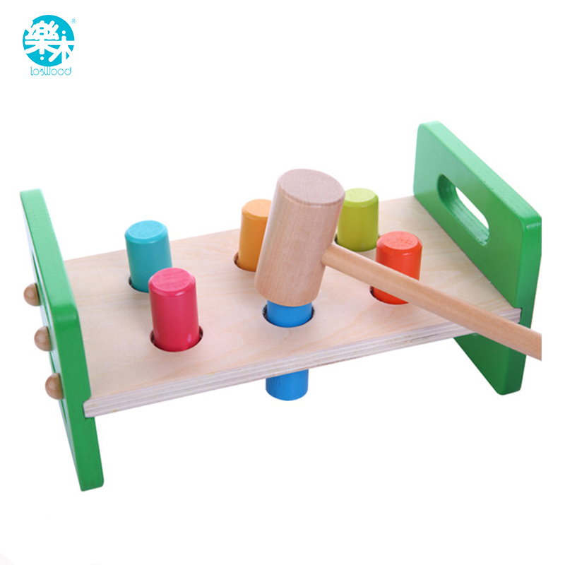 Baby toys Wooden Knocks pillar Platform wood toys Hammering Children Early Learning Educational Toys Brand free shipping