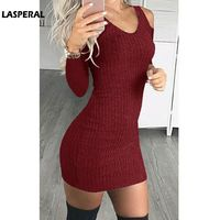 LASPERAL 2018 Fashion Spring Autumn Sexy O Neck Knitted Sweater Dress Women Mini Off Shoulder Long