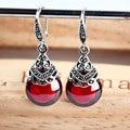 Retro round RUBY EARRINGS Garnet Earrings Earrings female female temperament silver jewelry