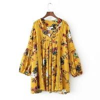 2017 Long Sleeve Vintage Dress Tops Print Floral Woman Dress Ethnic Plus Size Loose Bandage Boho Vintage Casual Dresses