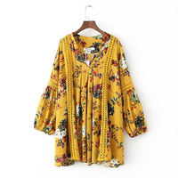 Vintage Floral Boho Dress Plus Size Women Dresses Lantern Sleeve Loose Beach Mini Dress Chic Casual