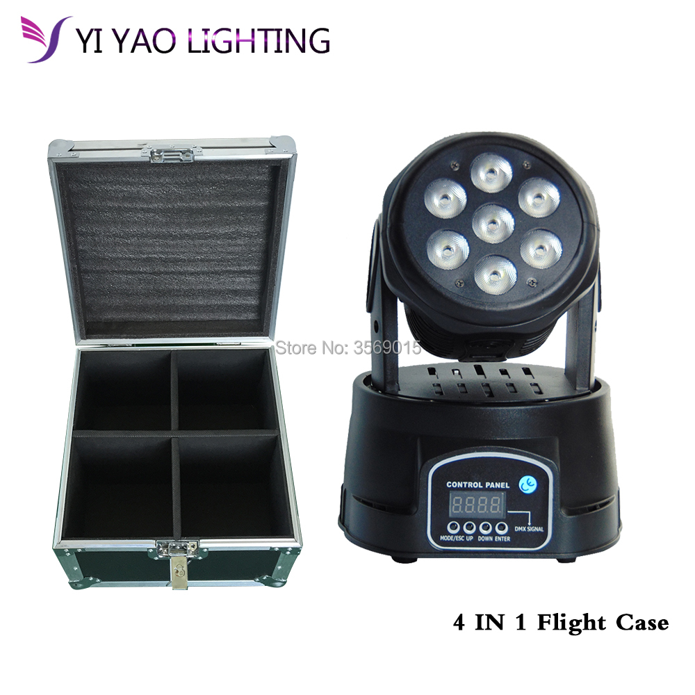 Flight Case 4pcs/lot 7x12w led big bee eyes moving head light RGBW led beam moving head bee beam wash movinghead light стоимость