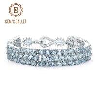 GEM'S BALLET Natural Sky Blue Topaz Real 925 Sterling Silver Gemstone Bracelets&bangles For Women Wedding Engagement Jewelry