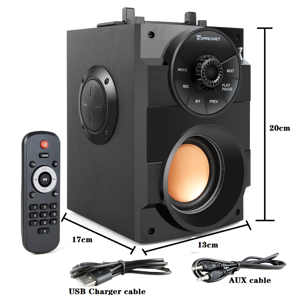 TOPROAD Bluetooth Speaker Portable Big Power Wireless Stereo Subwoofer Heavy Bass Speakers Sound Box Support FM Radio TF AUX USB 5