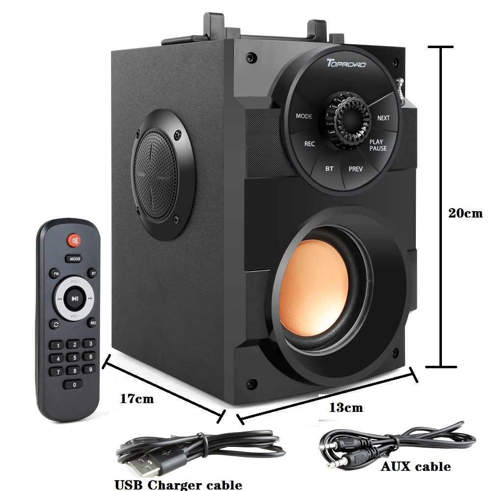 Toproad Bluetooth Speaker Portable Big Power Wireless Stereo Subwoofer Berat Bass Speaker Kotak Suara Mendukung FM Radio TF AUX USB