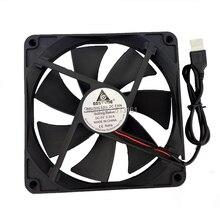 2 Pcs Gdstime Brushless DC Cooling Cooler USB Fan 5V 140mm 140 x 140 x 25mm 14CM wholesale nzxt df1402512sedn 12v 1 68w 0 14a 140 140 25 14cm chassis power supply fan