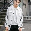2016 Autumn Korean Men Cardigan Jacket Fashion Striped Shirt Jacket Men Long Sleeve Single-Breasted Design  Streetwear Coat