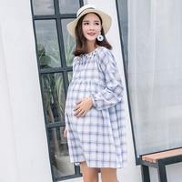 183e59d3c Cotton Linen Summer Korean Fashion Maternity Dress Clothes For Pregnant  Women Pregnancy Dress Loose Long Sleeve