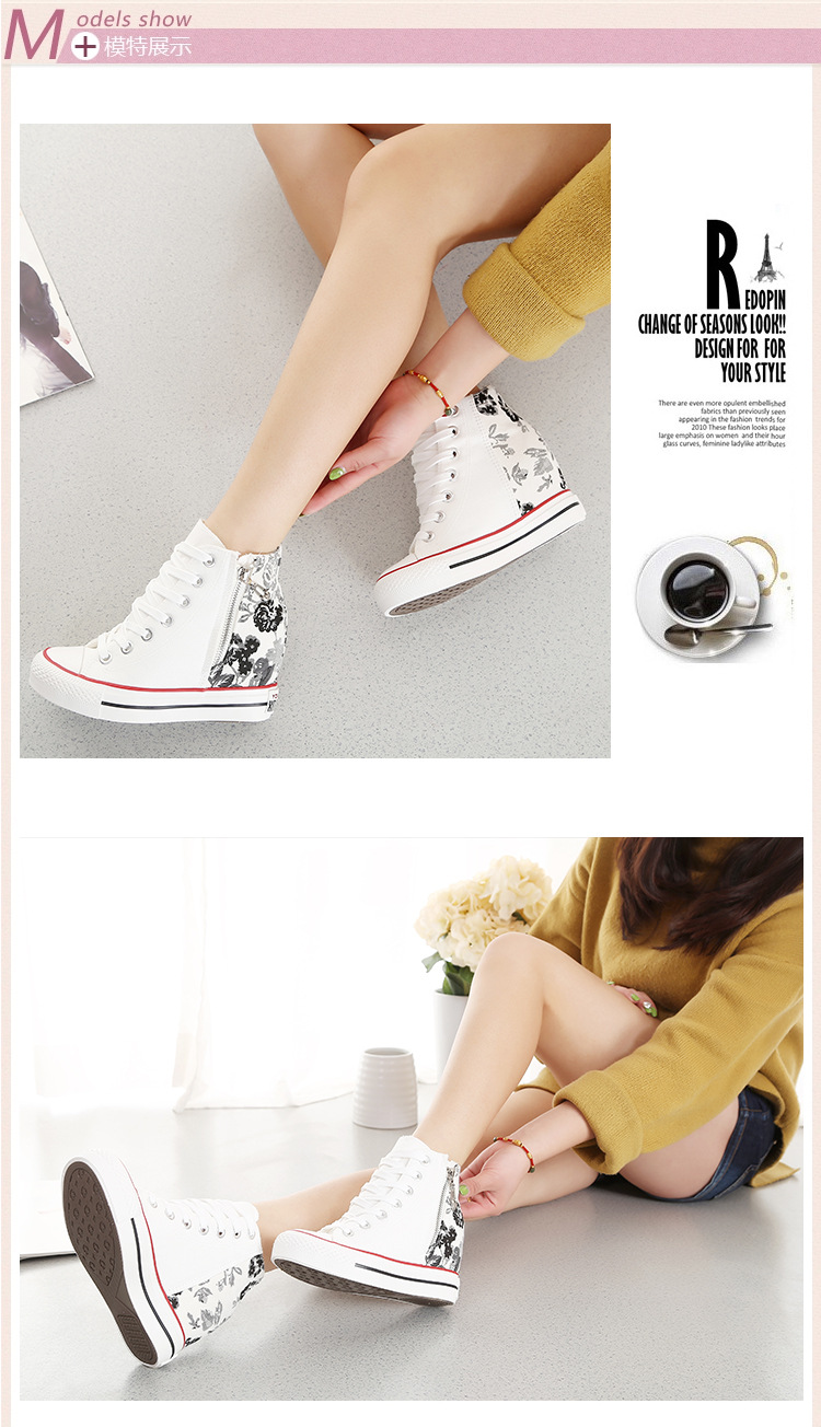 KUYUPP High Top Canvas Women Shoes Superstar Espadrilles Flower Women's Wedges Shoes Lace Up White Casual Shoes Sapatilha S249 (6)