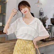 Feminine Blouses Summer Chiffon 2019 New Blusa V-neck Ruffled Women Tops Half Sleeve Blouse Shirt Casual 18C7