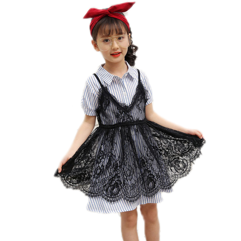 girls clothing sets 2017 new summer girls clothes short sleeve striped single breasted blouse+lace Suspenders 2pcs girls suit inc new black striped lace women s medium m mock 2 fer layered blouse $69 049