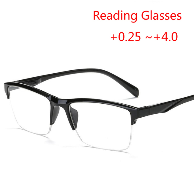 Half Frame Reading Glasses Anti-fatigue Reader Eyeglasses Magnifier +0.5 +0.75 +1.0 +1.25 +1.75 +2.0 +2.25 +2.75 +3.25 +4.0