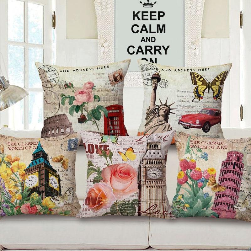 European Style Retro London Paris Cotton Linen Throw Pillow Home Decorative Sofa Office Chair Siesta Back Cushion Cover 45x45cm