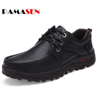 PAMASEN Autumn Winter Genuine Leather Big Size Men Casual Shoes Fashion Plush Warm Male Shoes Large