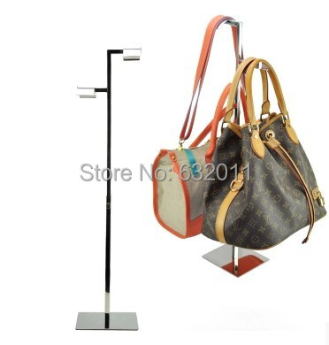 Mirror polished silver Stainless metal Handbag holder Stand double hook bag hair hat holder rack showing display stand