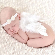 Lovely Baby Angel Wing Newborn Photography Props Set Baby Angel Fairy White Feather Wing Costume Photo Prop Cupid Atrezzo Baby(China)