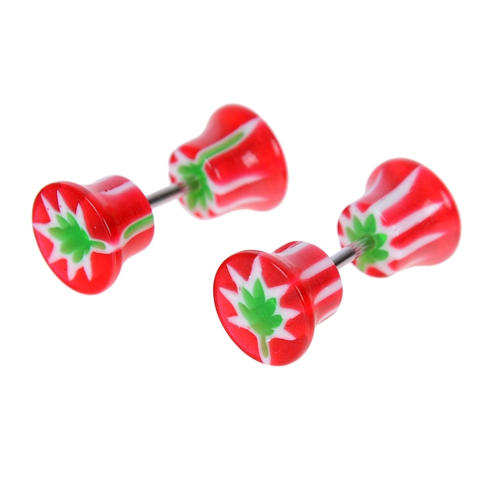 2pcs/Pair Mixed Candy Color Acrylic 18G Stainless Steel Fake Auricle Personality Ear Plugs Gauges Puncture Body Jewelry