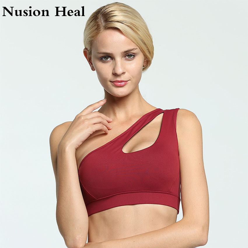 Aliexpresscom  Buy 2018 Sexy One Shoulder Solid Sports Bra Women Fitness Yoga Bras -9632