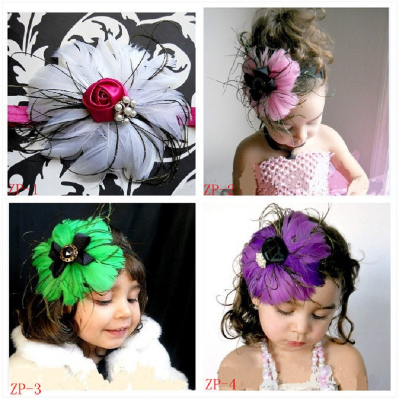 Fashion Feather Baby Girls Hairbands Babies Headbands Barrettes Children Elastic Hair Bands Kids Combs Ribbons Hair Accessories chain