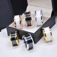 Classic Luxury Brand Titanium Steel White And Black Ceramics Ring For Women Men High Quality Love