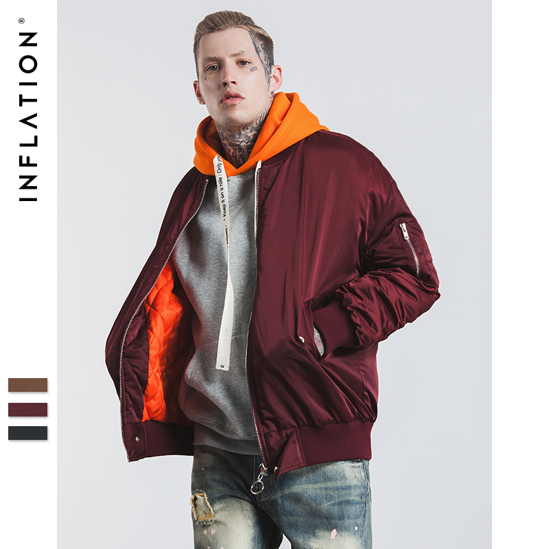 INFLATION 2017 New Arrival Winter Bomber Jacket Winter Mens MA1 Jackets Mens Jacket Hip Hop Coats Streetwear 256W17