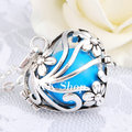 H120A06 30'' Silver Plated on Stainless Steel Chain Silver Heart Cage Pregnancy Pendant Musical Bola